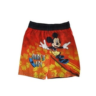 "Disney Baby Boys Orange Mickey Mouse ""Surf's Up"" Print Swimwear Shorts"