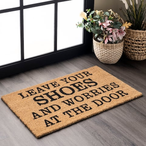 nuLOOM Coir Leave Your Shoes and Worries Doormat