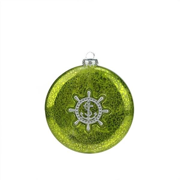 "4"" Nautical Kiwi Green Mercury Glass Style Disc Christmas Ornament with Ship Wheel"
