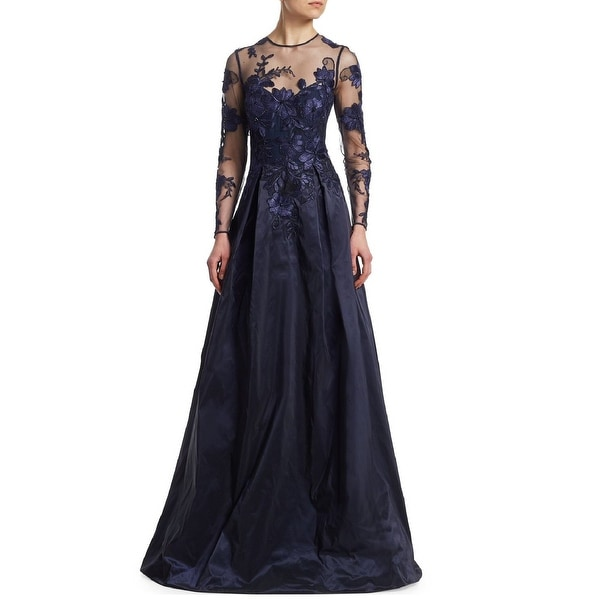 52bb02cdae620 Teri Jon Floral Lace Applique Illusion Long Sleeve Evening Gown Dress Navy