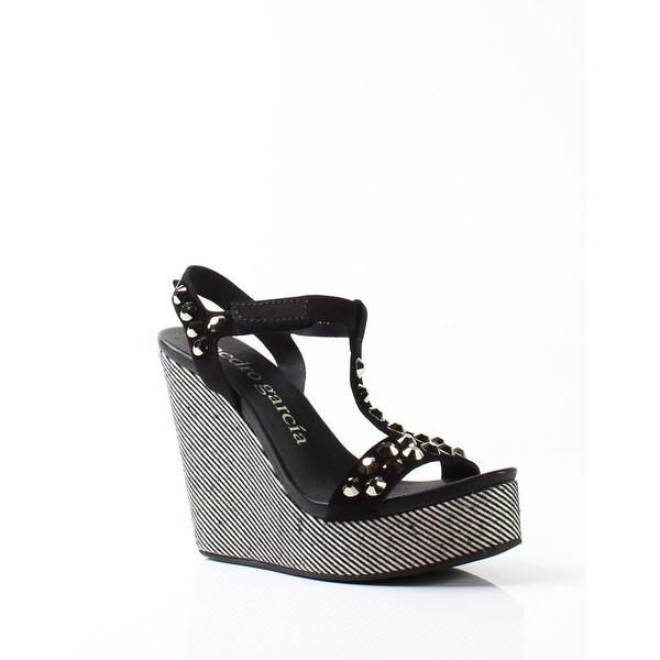 089b53a1a Pedro Garcia NEW Black Women  x27 s Shoes Size 7.5M Tyra Wedge Sandal