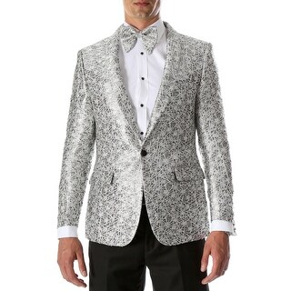 Link to Mens RENE Silver Premium Abstract Pattern Slim Fit Tuxedo Blazer Similar Items in Formalwear