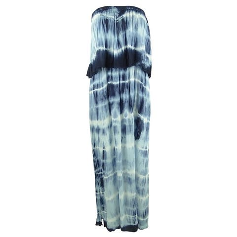 Raviya Women's Plus Size Tie-Dye Strapless Maxi Dress Swim Cover-Up - Blue/White