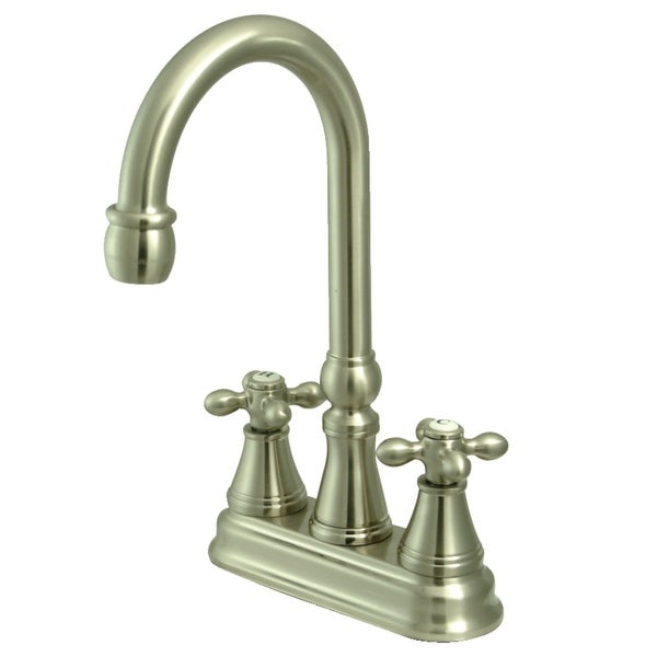 Kingston Brass KS249.AX Victorian Deck Mounted Double Handle Bar Faucet with Cross Handles
