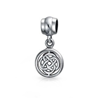 Bling Jewelry Round Celtic Knot Dangle Bead Charm .925 Sterling Silver