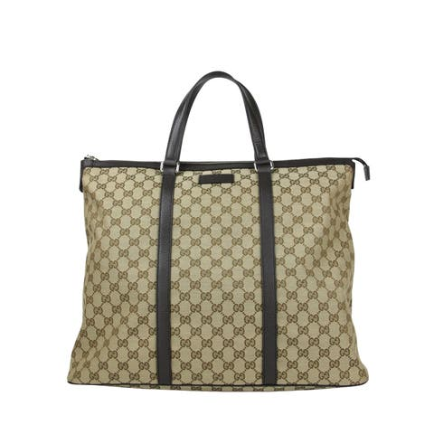26b8dd336c9c Gucci Original GG Beige/Brown Canvas Leather Trim Zip Top Tote Bag 449170  9903 -