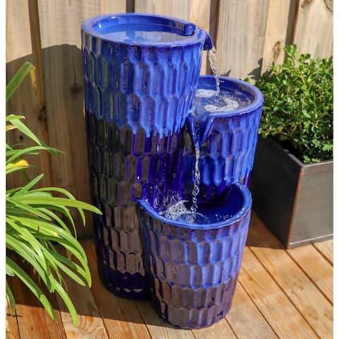 "Emberly 25-inch Cobalt Blue Glazed Ceramic Floor Fountain - 16"" x 25"""