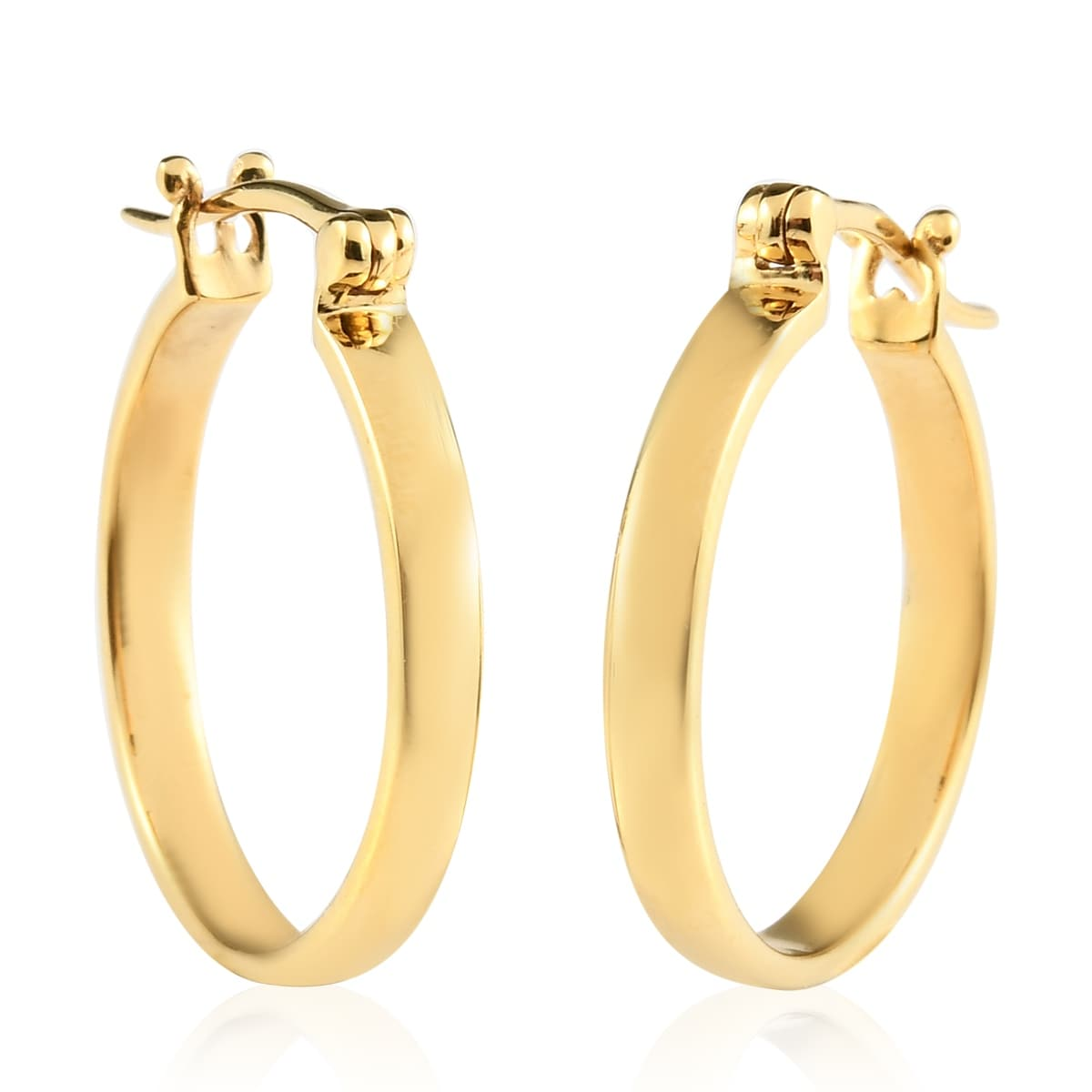22K Gold Over Sterling Silver Hinged Hoop Earrings w Silver Beads 2 Sizes