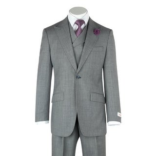 San Giovesse Gray Birdseye Wide Leg, Pure Wool Suit & Vest by Tiglio Rosso
