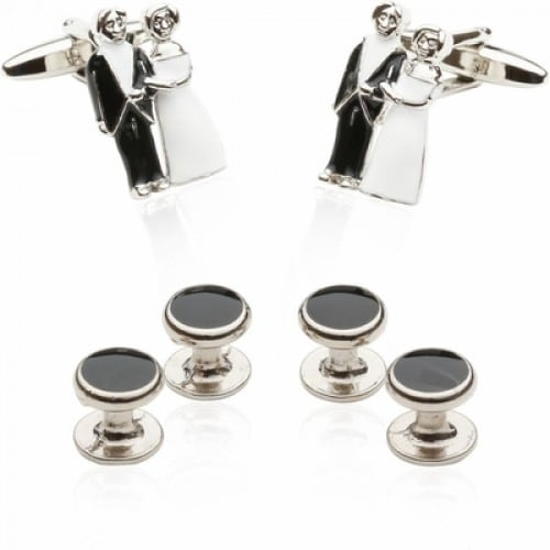 Bride and Groom Cufflinks And Studs Wedding Mr and Mrs