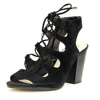 INC International Concepts RADKA Women Open Toe Suede Black Sandals