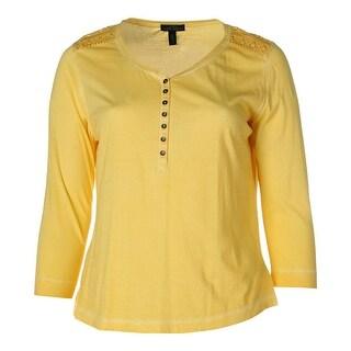 LRL Lauren Jeans Co. Womens Henley Top Cotton Slub