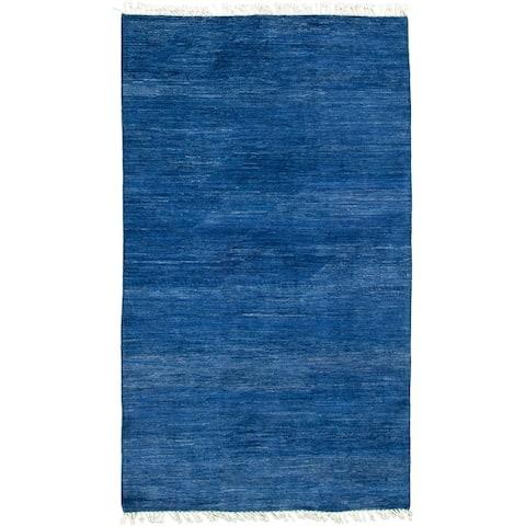 ECARPETGALLERY Hand-knotted Pak Finest Gabbeh Blue Wool Rug - 4'4 x 8'4