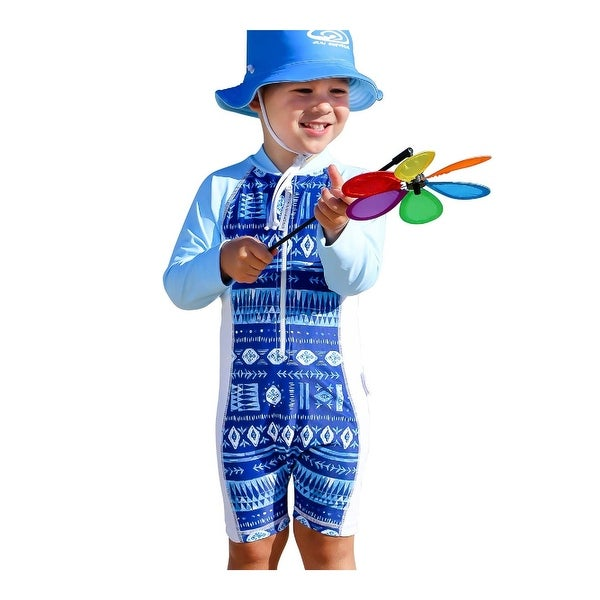 Sun Emporium Baby Boys Indigo Print Cloud Blue Long Sleeve Short Leg Suit