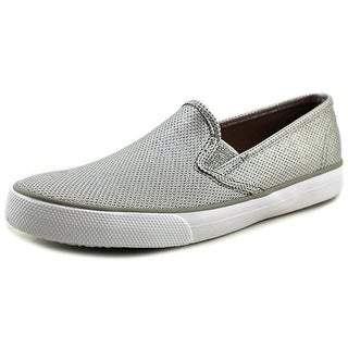 Sperry Top Sider Seaside Youth Round Toe Canvas Silver Sneakers