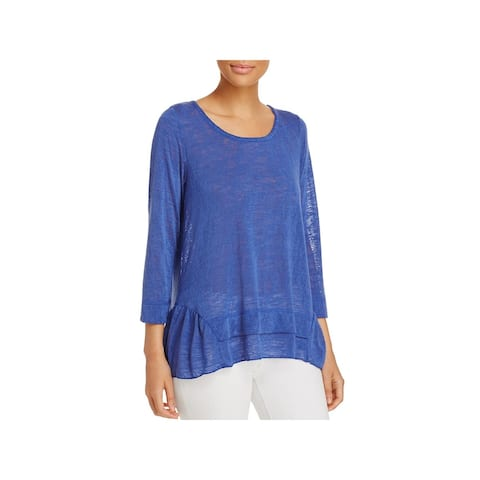 Nally & Millie Womens Pullover Sweater Knit Ruffled