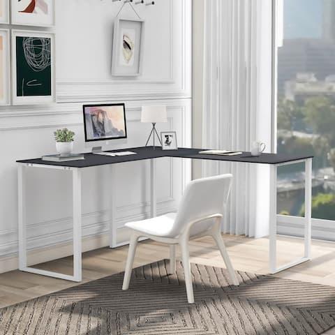 AOOLIVE Executive Workstation L-shape Cornor Computer Desk, Oak Black