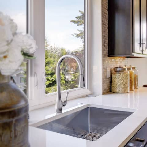 Yasawa Collection. Pull-Down kitchen faucet. Brushed Stainless finish. By Lulani