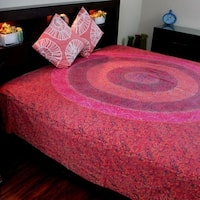 Cotton Sanganer Floral Mandala Tapestry Wall Hanging Bedspread Beach Sheet Dorm Throw Twin Queen Red