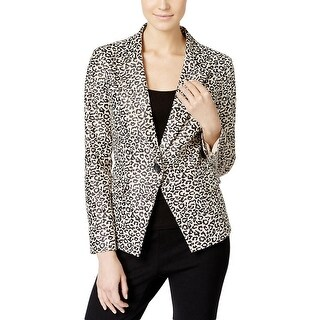 Vakko Womens One-Button Blazer Faux Leather Animal Print - l