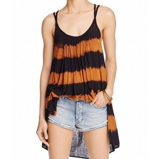 Free People NEW Black Womens Size Small S Striped Tie-Dyed Tunic Top