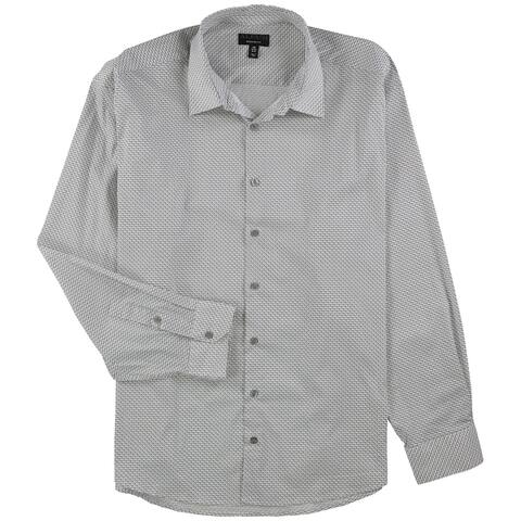 "Alfani Mens Dot And Check Button Up Dress Shirt, white, 18""-18.5"" Neck 36""-37"" Sleeve - 18""-18.5"" Neck 36""-37"" Sleeve"