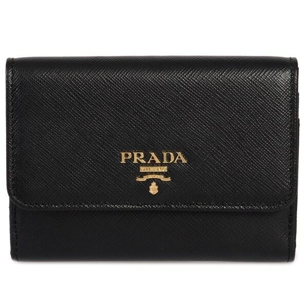 e0a32ddaa26f Shop Prada Black Saffiano Leather Flap Wallet 1MH523 QWA F0002 ...