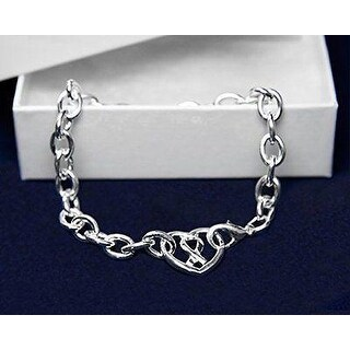 Chunky Silver Ribbon Heart Bracelet for Awareness of All Causes