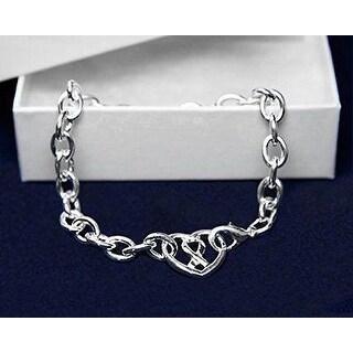 Chunky Silver Ribbon Heart Bracelet for Awareness of Mental Health
