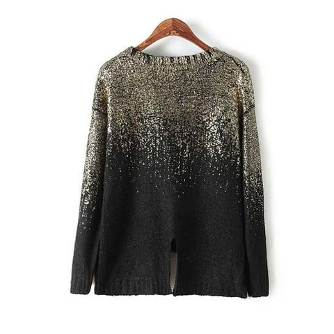 New Arrival Full Sleeve O-Neck Fashion Pullovers Standard Coarse Wool Computer Knitted Women's Fashion Bling Sweater