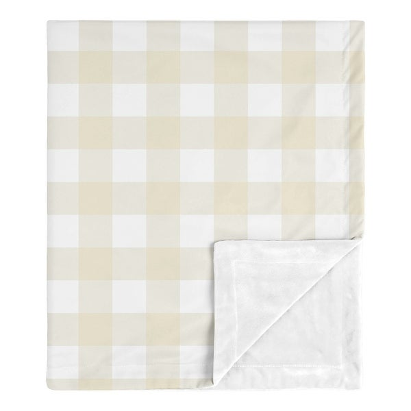 Woodland Plaid Collection Boy Baby Receiving Security Swaddle Blanket - Beige and White Buffalo Check