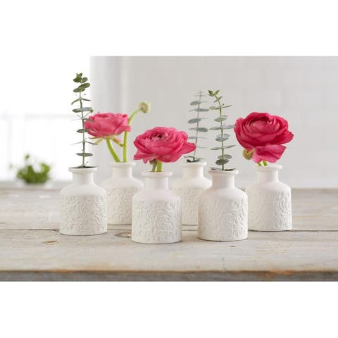 Mini Ceramic Flower Bud Vases, Perfect for Budding Flowers, Small Plants or Decoration Piece Floral Decoration (White)