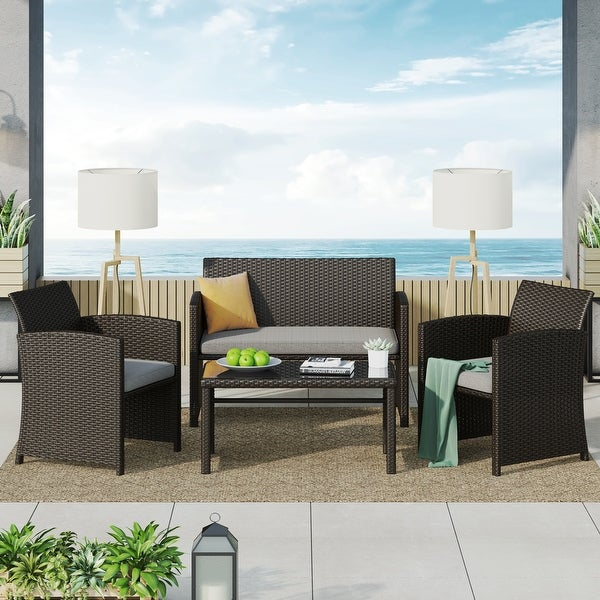 Corvus Alsace 4-piece Outdoor Rattan Sofa Conversation Set with Cushions. Opens flyout.