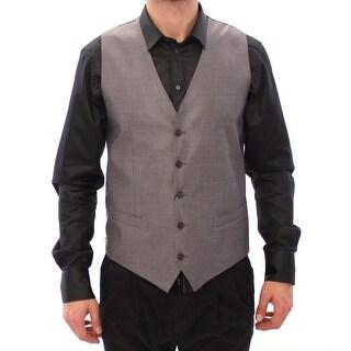 Dolce & Gabbana Gray Wool Silk Dress Vest Gilet Weste