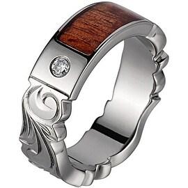 Titanium Diamond Wedding Band With Koa Wood Inlay & Carved Edges 6 mm