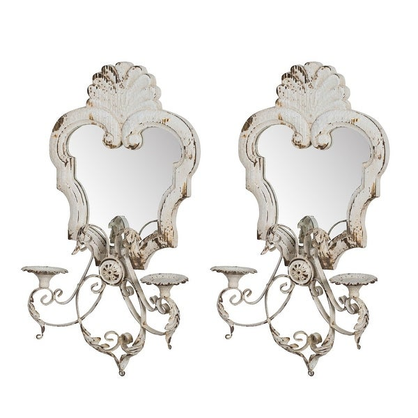 """Set of 2 White Antique Style Distressed Candle Holders 23"""" - N/A"""