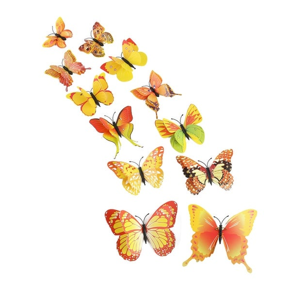 12pcs 3D Butterfly Sticker Pin Type Decal Sticker for Room Decoration Yellow