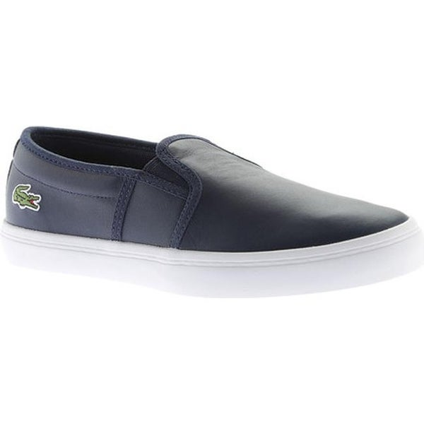 4c2096c6a Shop Lacoste Women s Gazon Leather Slip-On Navy Leather - On Sale ...