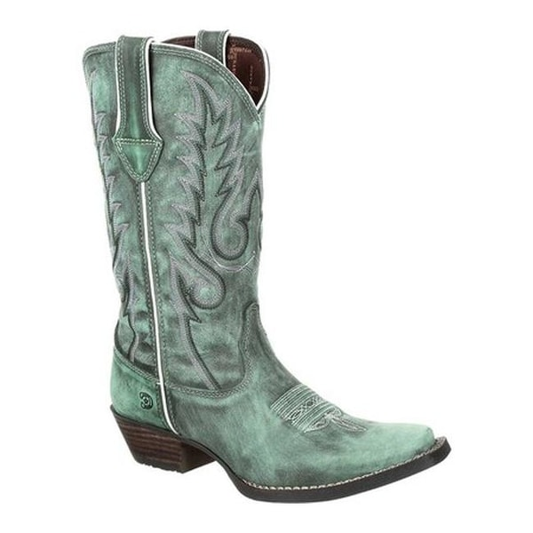 """Durango Boot Women's DRD0306 Dream Catcher 12"""" Western Boot Gypsy Teal Full Grain Leather"""