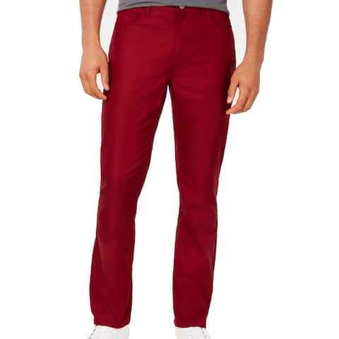 Alfani Mens Pants Red Size 40X30 Twill Flat-Front Mid-Rise Stretch