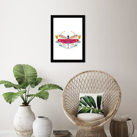Wynwood Studio 'Decorated Wings' Animals Wall Art Framed Print Insects - Red, Green