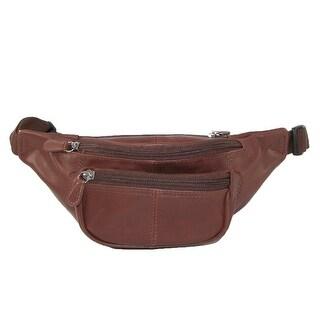 CTM® Leather Multi Pocket Waist Pack
