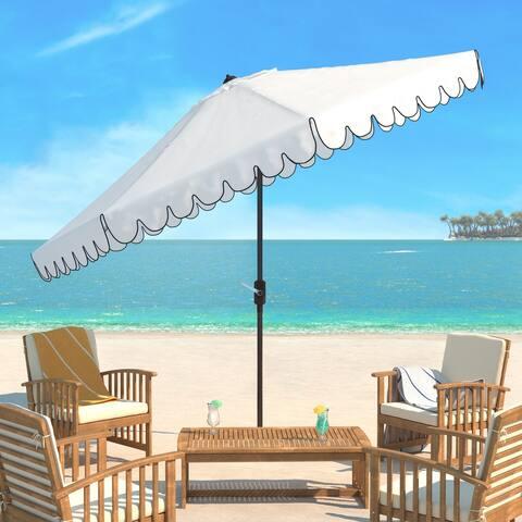 SAFAVIEH Outdoor Living Venice 11Ft Round Crank Umbrella