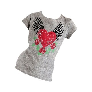 Roper Western Shirt Girls S/S Wing Heart Gray 03-009-0514-2207 GY