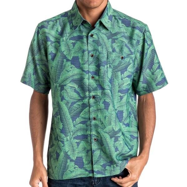 6a49b688 Quiksilver NEW Green Mens Size Large L Waterman Printed Hawaiian Shirt