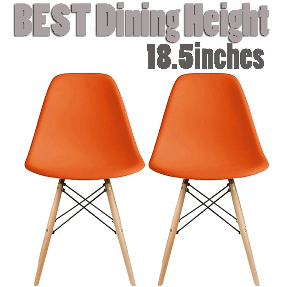 Thumbnail 29, 2xhome Set of 2 Modern Plastic Eiffel Side Dining Chair Colors with Natural Wood Dowel Leg For Kitchen Work Bedroom DSW. Changes active main hero.