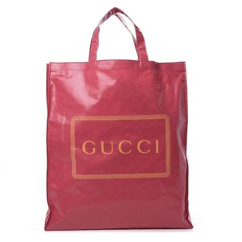 Gucci Montecarlo Crystal Glam Pink Patent Logo Medium Tote Bag 575140