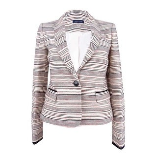 Tommy Hilfiger Women's Striped One-Button Blazer - cream multi