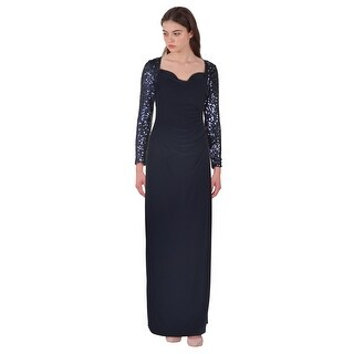 Lauren Ralph Lauren Sequin Sleeve Jersey Column Evening Gown Dress Blue - 8