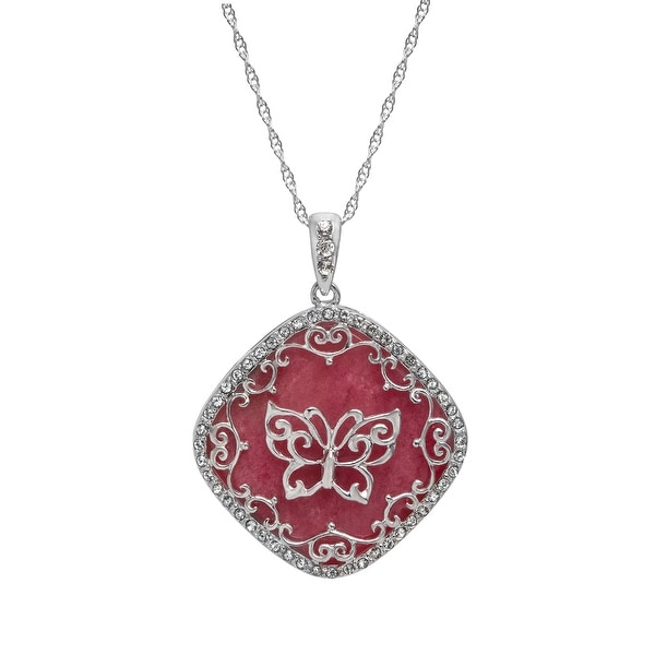 Crystaluxe Butterfly Rhodonite Pendant with Swarovski Elements Crystals in Sterling Silver - Pink